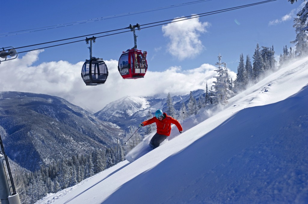 Gordon Bronson skiing on Aspen Mountain, Aspen, Colorado